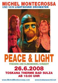 Konzertplakat 'Peace & Light' Friedens und Klimawandel Konzert mit Michel Montecrossa und seinem Lightsound Orchester
