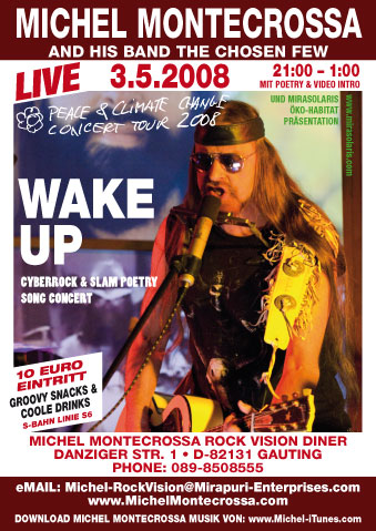 Concert Poster for Michel Montecrossa\'s \'Wake Up\' Cyberrock and Slam Poetry Song Concert