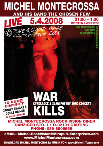 Konzertplakat des 'War Kills' Concert mit Michel Montecrossa and his band The Chosen Few