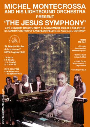 Konzertplakat: Michel Montecrossa's 'Die Jesus Symphonie' in der St. Martin Kirche in Lagerlechfeld