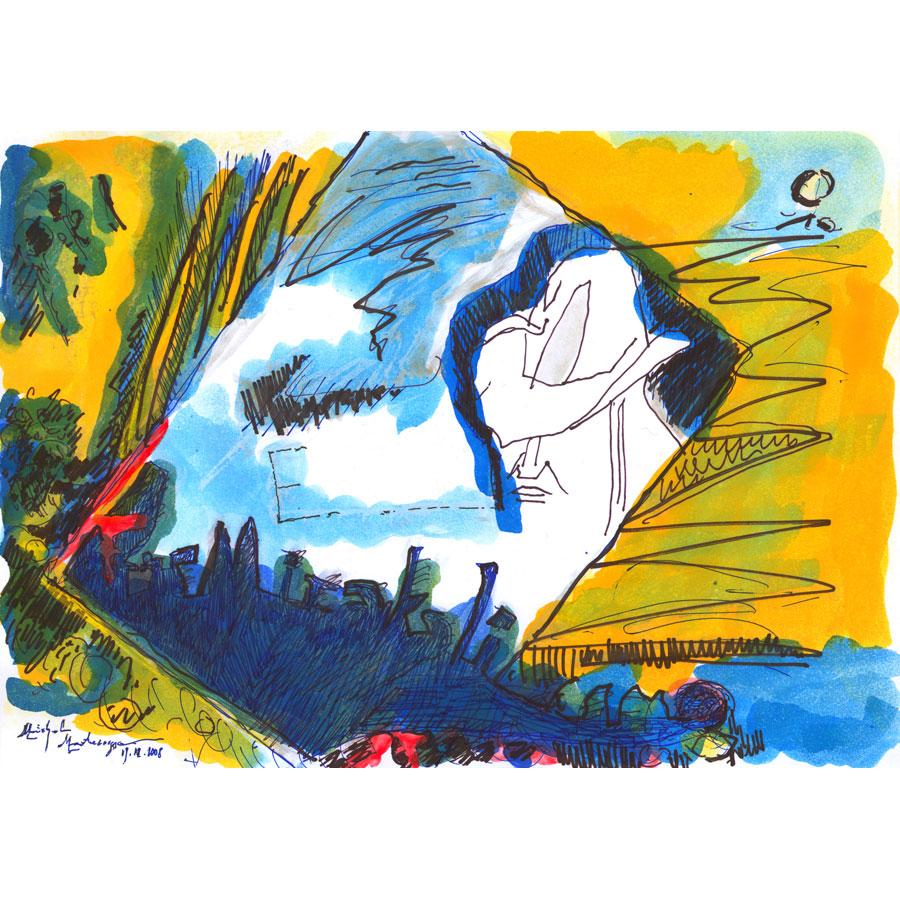 E-City Blues - painting by Michel Montecrossa