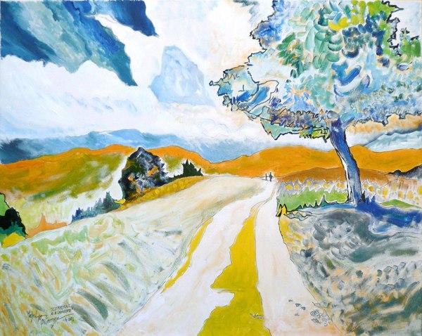 Selfportrait As A Landscape - Gemälde von Michel Montecrossa