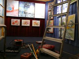 CREATION ART EXHIBITION of Michel Montecrossa paintings and drawings; preparations - picture 7