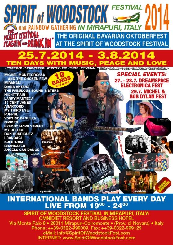 Festival Poster: Spirit of Woodstock Festival 2014 in Mirapuri, Italy