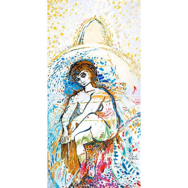 In Mirapuri You Wash Your Feet, You Dry Your Feet. In Mirapuri Where The Fest Is Sweet - painting by Michel Montecrossa