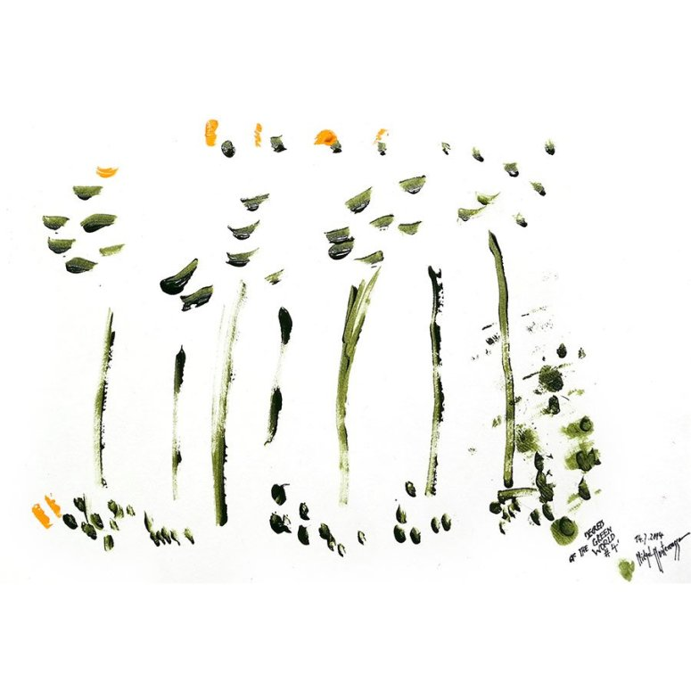 painting by Michel Montecrossa - 'Secrets Of The Green World #4'
