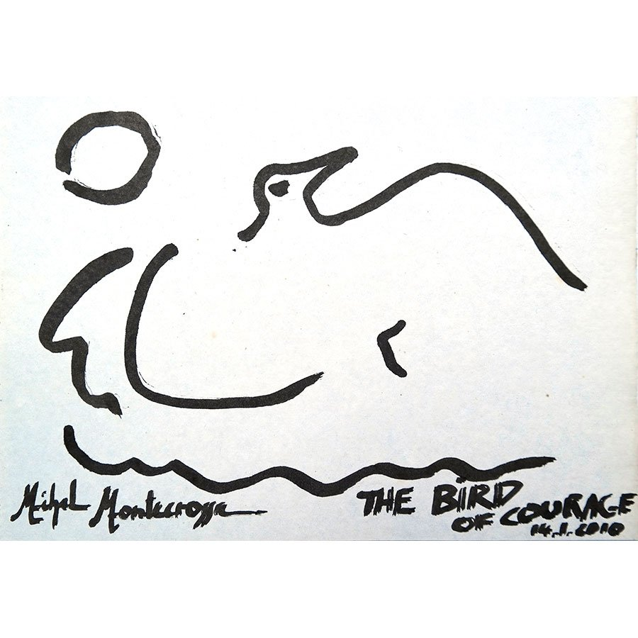 Michel Montecrossa - ink drawing 'The Bird Of Courage'