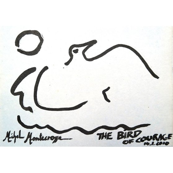 Michel Montecrossa - ink drawing 'The Bird Of Courage'