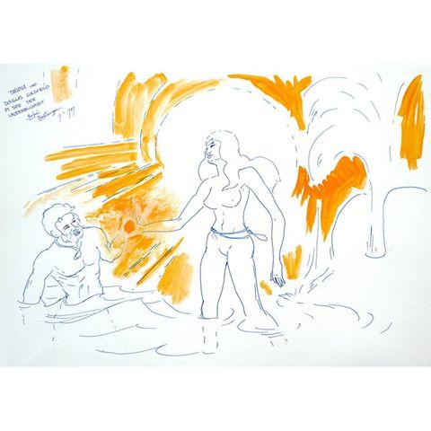 'Tarana und Douglas Goldfield im See der Unsterblichkeit' - painting by Michel Montcerossa