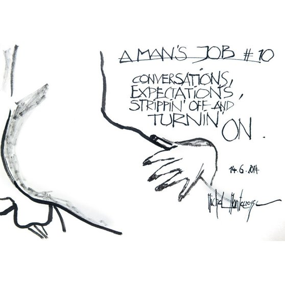 A Man's Job #10 - ink painting by Michel Montecrossa