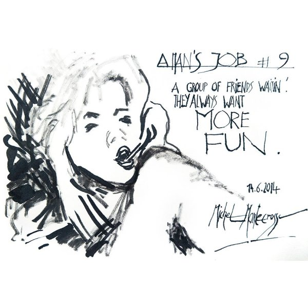 A Man's Job #9 - ink painting by Michel Montecrossa