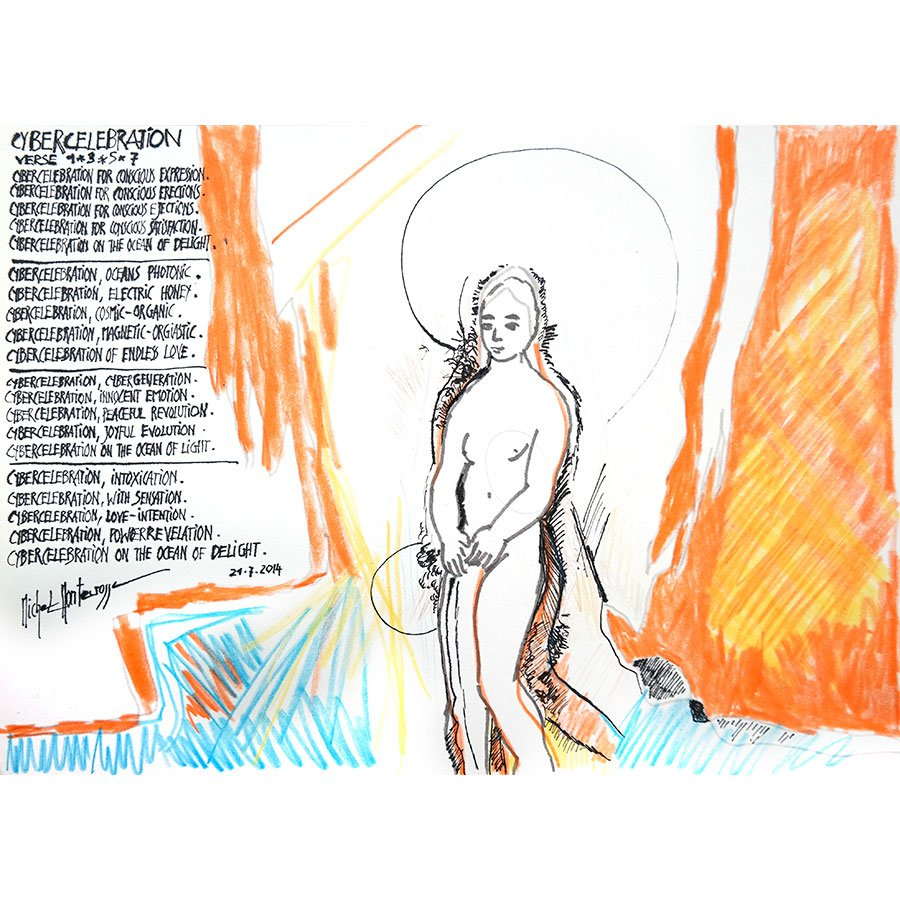 Cybercelebration Verse 1 * 3 * 5 * 7 - drawing by Michel Montecrossa