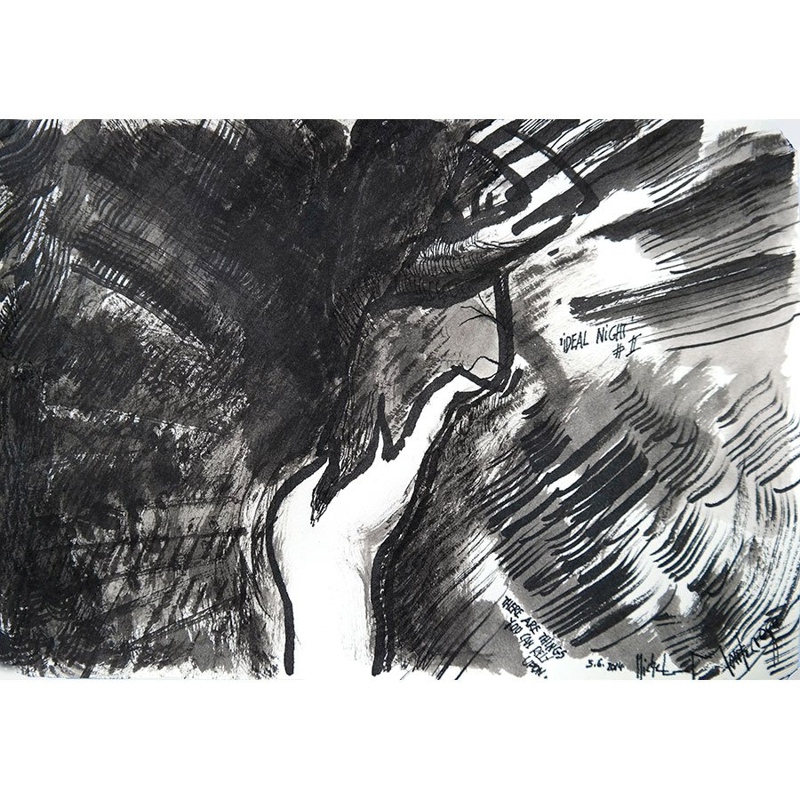 'Ideal Night #II' - ink drawing by Michel Montecrossa