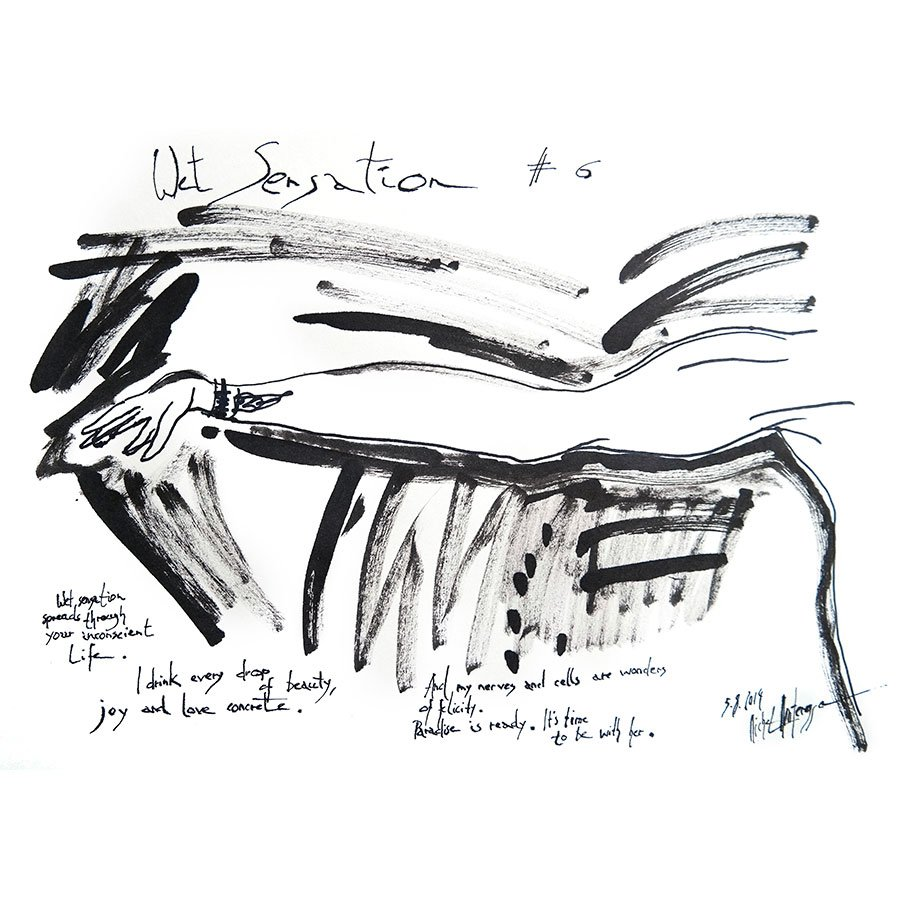 Wet Sensation #6 - black and white painting by Michel Montecrossa