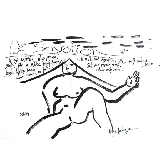 Wet Sensation #1 - black and white painting by Michel Montecrossa