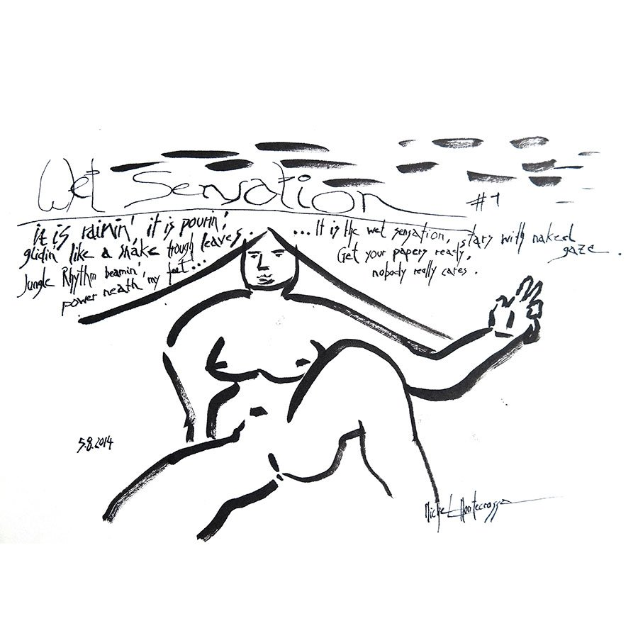 Wet Sensation #1 - ink drawing by Michel Montecrossa