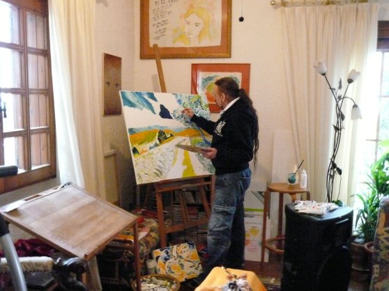 Michel Montecrossa - the painter at work, 2
