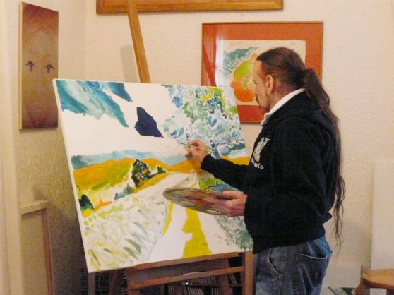 Michel Montecrossa - the painter at work, 1