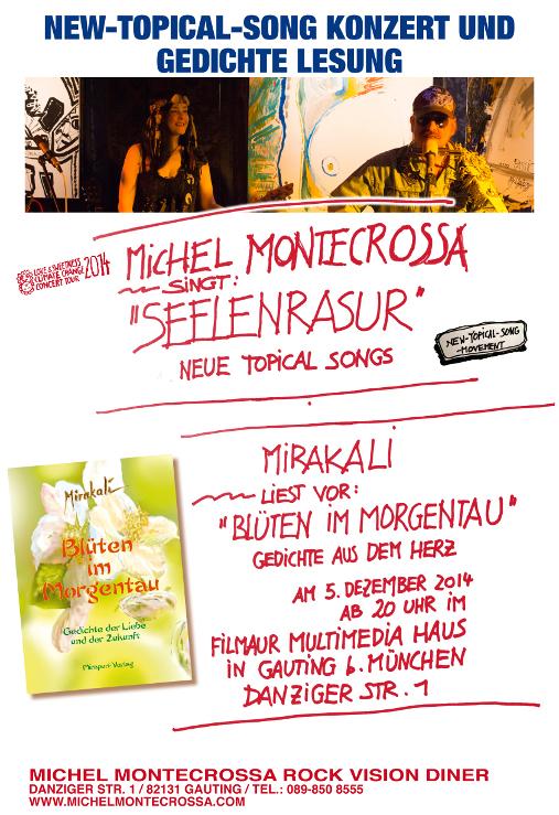 'Seelenrasur' New-Topical-Song Konzert von Michel Montecrossa und  Gedichte Lesung 'Blüten im Morgentau' von Mirakali