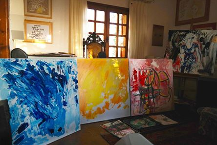 In the Artists's Studio (paintings by Michel Montecrossa)