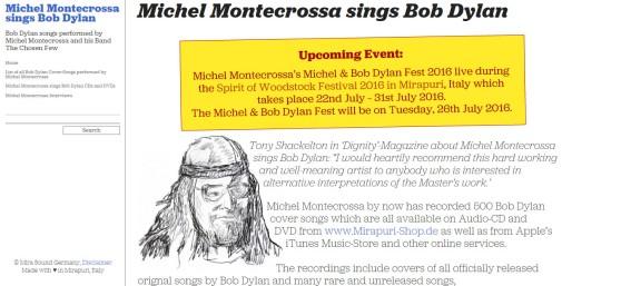 Screenshot new Michel sings Bob Dylan website