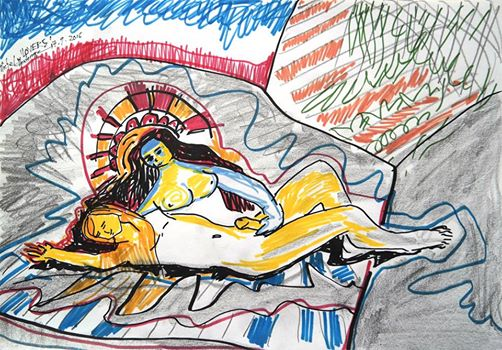 Lovers - drawing by Michel Montecrossa